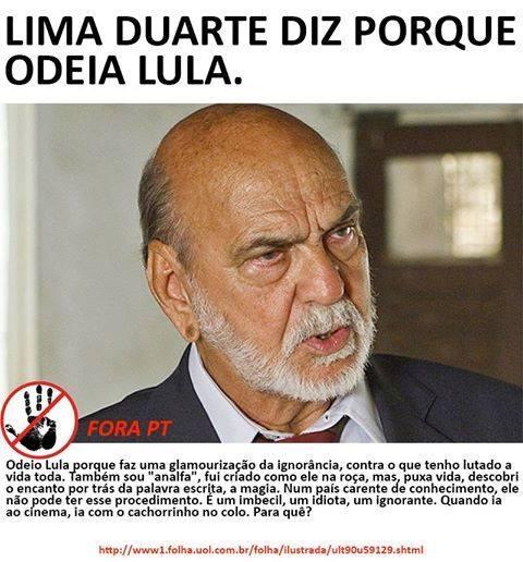 Frase atribuída a Lima Duarte no Facebook